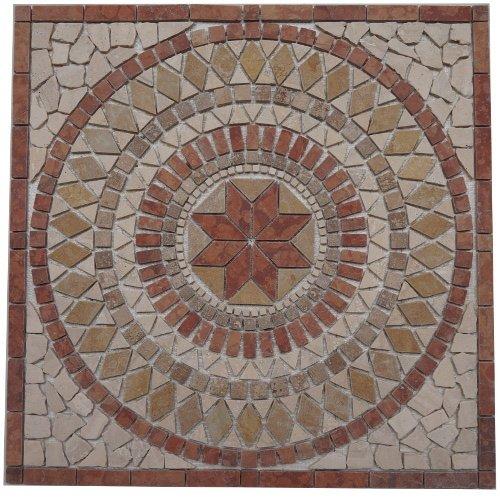 Marmor Rosone 30x30 Windrose Mosaik Einleger Naturstein Fliesen Rosso Verona 062