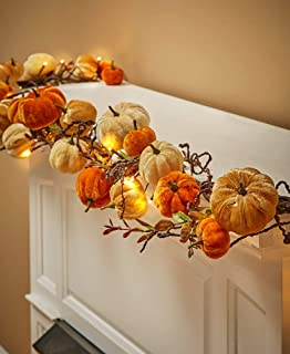The Lakeside Collection Autumn Harvest Pumpkin Garland with LED Lighting - 6'