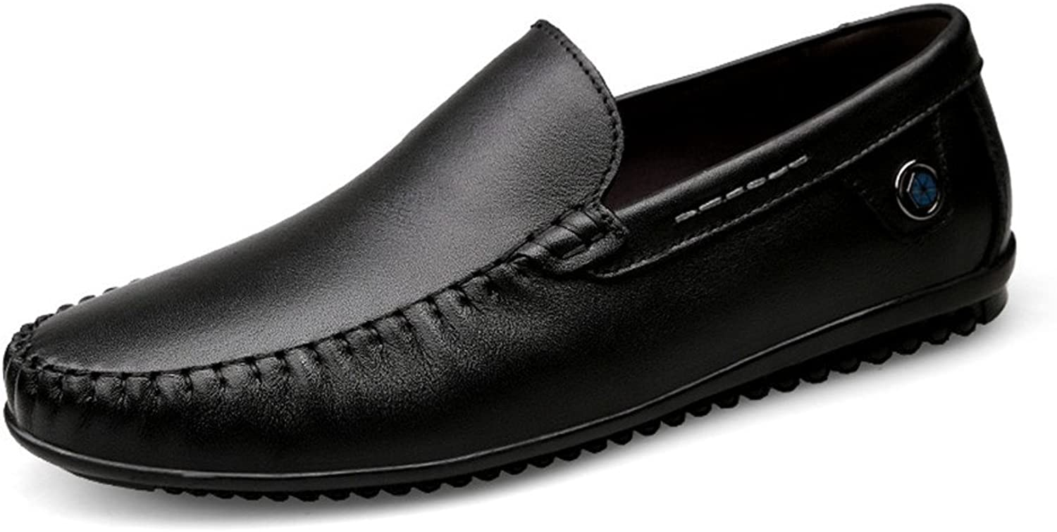 CHENXD shoes, Men's Genuine Leather Round Toe Flat Heel Moccasins Wave Sole Slip on Driving Style Loafer