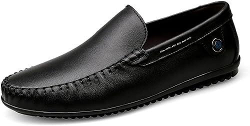 GYB Herren Flache Ferse Runde Kappe Mokassins Echtes Leder Wave Sohle Slip auf Driving Style Loafer Kleid Schuhe Lederschuhe für Herren