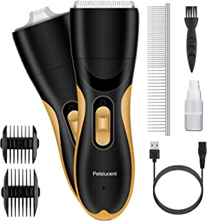 Petslucent Dog Clippers, Washable Pet Hair Grooming Kit with 2 Blade Heads, Low Noise Dog Trimmers Clipper Rechargeable Pr...