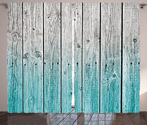 Ambesonne Rustic Curtains, Wood Panels Background with Digital Tones Effect Country House Art Image, Living Room Bedroom Window Drapes 2 Panel Set, 108' X 84', Teal Grey