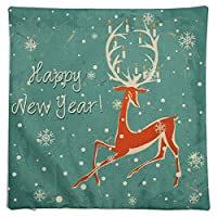 Beho クリスマスシリーズリネンコットンスロー枕ケースソファ車クッションカバーホームデコレーション-鹿
