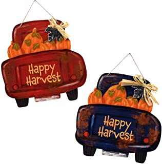 Autumn Decor Hanging Wall Signs - Happy Harvest Pick-Up Trucks with Pumpkins. Red and Blue, 2-pc. Bundle