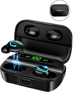 Bluetooth Earphone, Vaburs True Wireless Earbuds with Mic LED Power Display Deep Bass Stereo Sound Auto-pairing, Headphones for Running, Waterproof Black