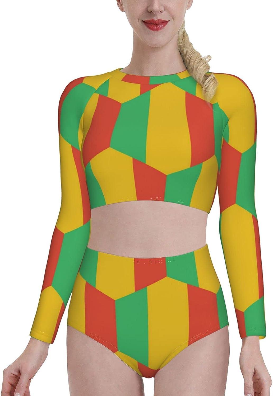 Retail Sign Systems Mali Flag Womens Two Piece Swimsuit Long Sleeve Rash Guard Swimwear