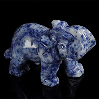 Cheng-store Marble Statue Carved Elephant Sculpture Fortune Drawing Decoration Jade Stone Handicraft Figurine