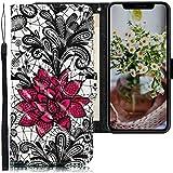 CLM-Tech Funda Compatible con Apple iPhone 11 Pro (5,8 Pulgadas), Carcasa Cuero sintético con Soporte y Ranuras para Tarjetas, Flores de Encaje Negro Blanco Rojo