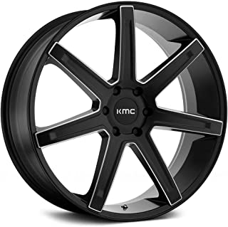 KMC KM700 REVERT Satin Black Milled Wheel with Painted and Chromium (hexavalent compounds) (22 x 9.5 inches /6 x 106 mm, 15 mm Offset)