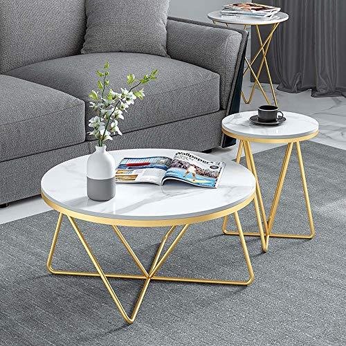 Juego de mesa de centro redonda de mármol, mesa de esquina pequeña con estante móvil de hierro forjado, muy adecuada para terraza, jardín o interior, se puede utilizar como mesa de lectura/dora