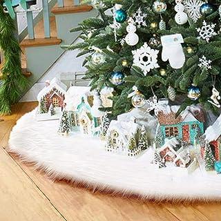 Surfmalleu Falda Blanca de Árbol de Navidad de Decoración Felpa de Papá Noel con Largo Pelo