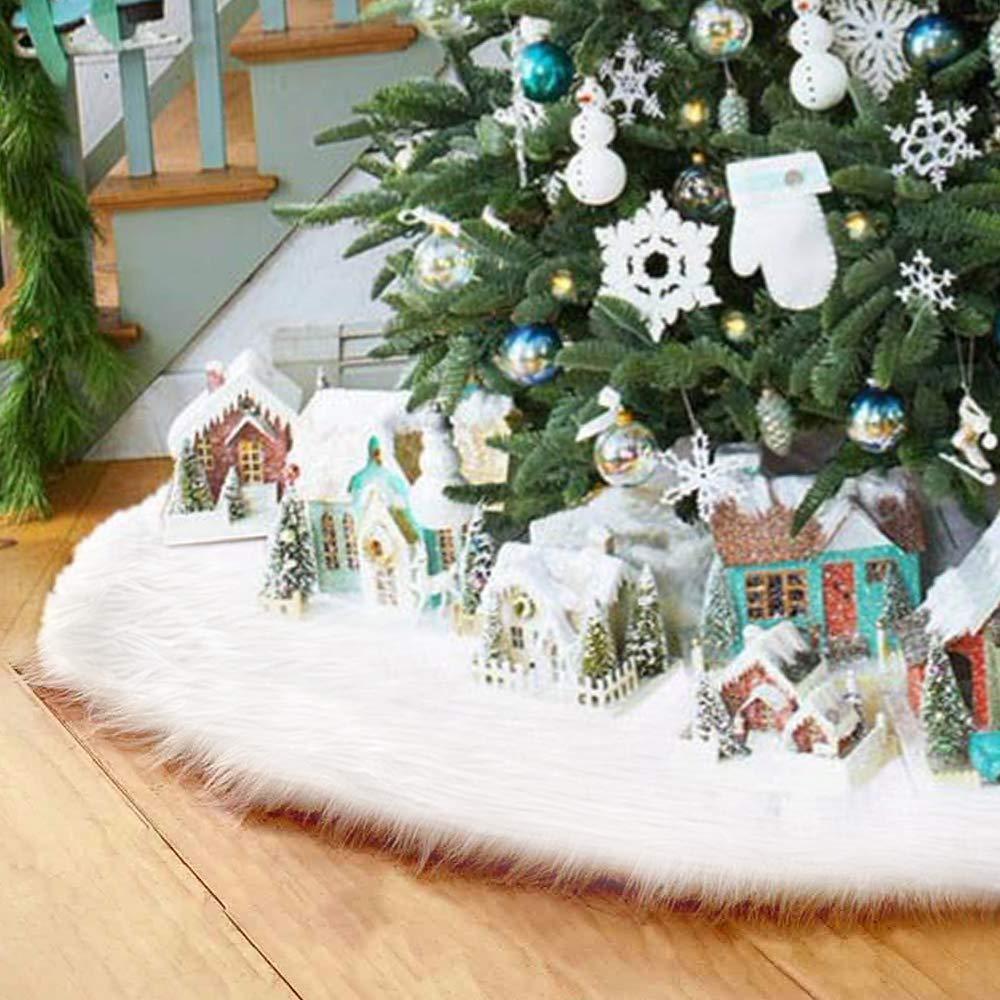 Surfmalleu Falda de la decoración blanca del árbol de Navidad con ...