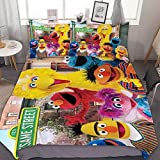 Se-Same St-Reet ELMO Bedding Sets for Bed 3Pcs Bedding Duvet Cover Decor Twin Size for Kids Adult (1 Cover + 2 Pillowcase)
