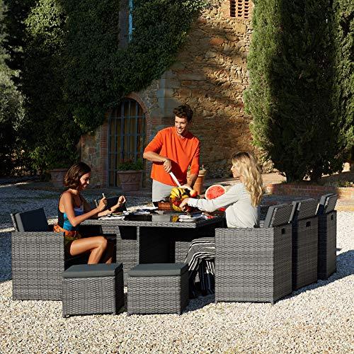 TecTake 403086 Aluminium Poly Rattan Sitzgruppe 6+1+4, klappbar, für bis zu 10 Personen, inkl. Schutzhülle und Edelstahlschrauben, grau - 5