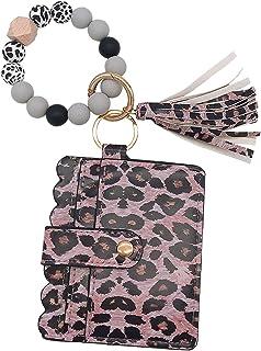Wristlet Wallet Bracelet Keychain Pocket Card,Multifunctional Bangle Key Ring Card,Silicone Bead Key Ring Bracelet for Women