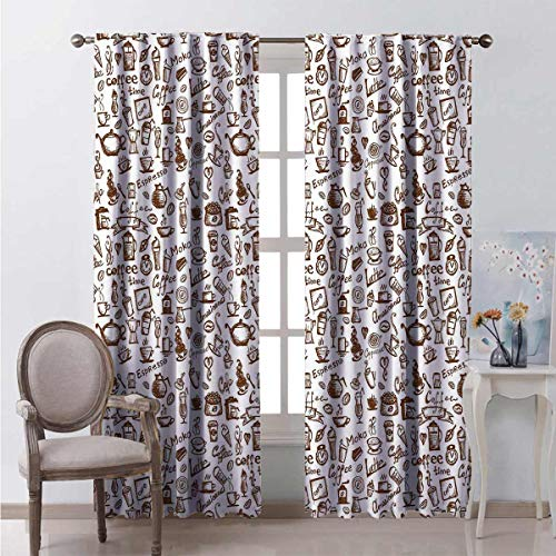 Toopeek Coffee Bedroom rod pocket blackout curtains Cool Drink Coffee Time Americano Mocha Espresso Heart Banner Cakes Cups Monochrome Living room color curtains 2 panels W42 x L63 Inch Brown White