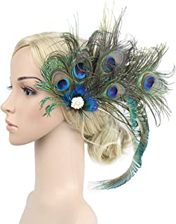 Dressfan Vintage Flapper Headband Peacock Feather Head Band Cocktail Party Horses Girls Women multi-coloured