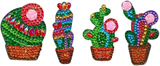 4pcs DIY Full Drill Diamond Painting Special Shaped Cactus Keychain Jewelry