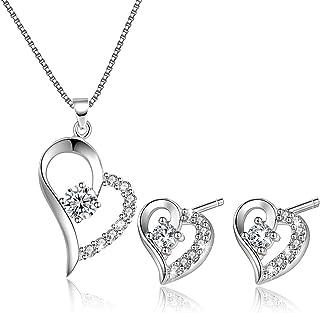 Collar de Amor y corazón con Colgante para Mujer y Pendientes, Conjunto de Joyas de Plata de Ley para Ella
