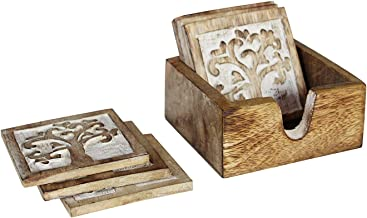 Mother's Day Gifts Handmade Set of 6 Wooden Coasters for Drink Tea Coffee Table White Distressed Coaster with Holder Stand Dining Home Décor (design 4)