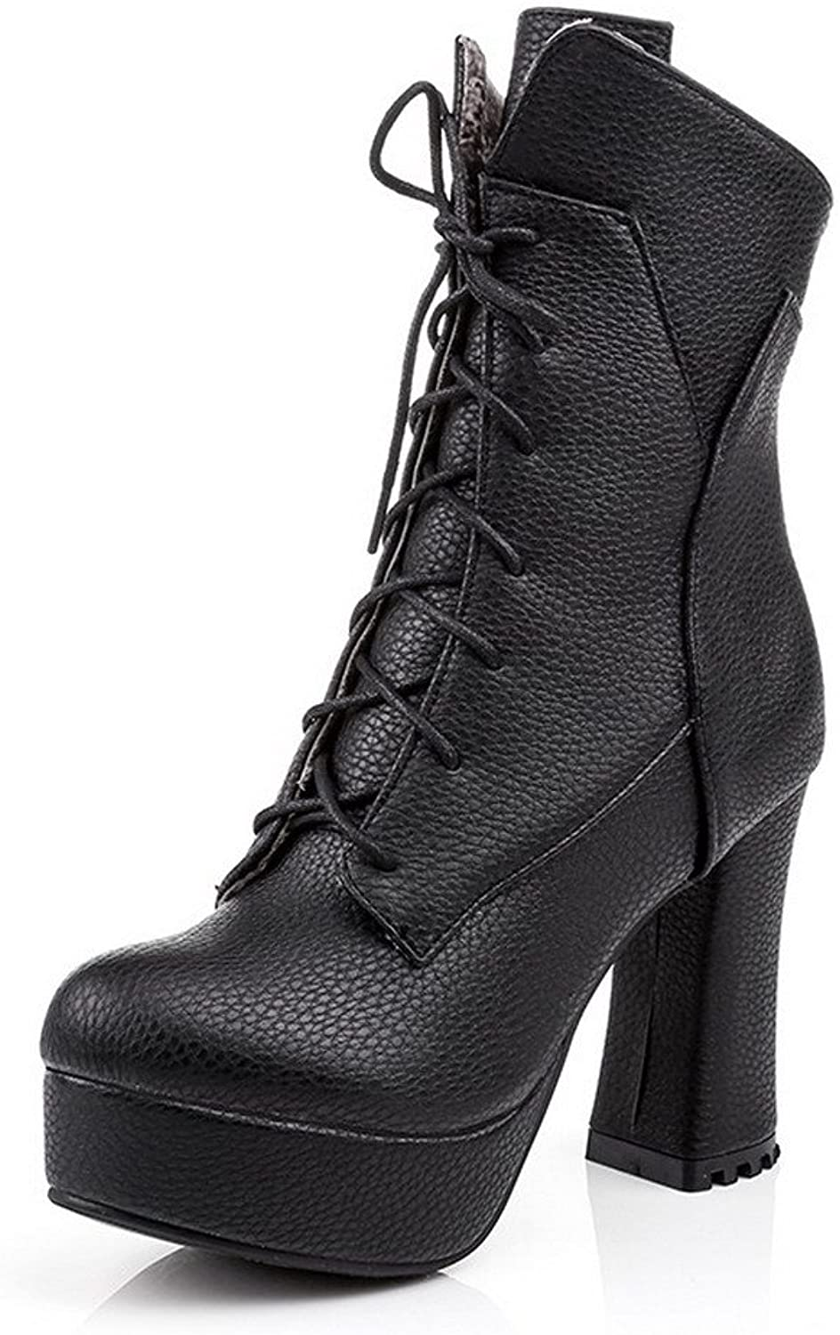 WeiPoot Women's High Heels Round Closed Toe Blend Materials Low-top Boots