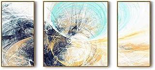Matériel de vie Mural Personnalisé Noir Vert Jaune Toile Abstraite Matériel Texture Motif Trois Peintures Décoratives Pein...
