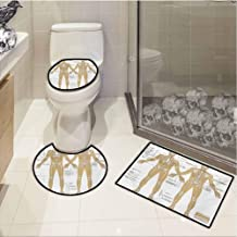 LASSW U-Shaped Toilet Floor Rug Set,Human Anatomy,Diagram of Human Skeleton System with Titled Main Parts of Body Joints Picture,Mat and Toilet Lid,White Tan