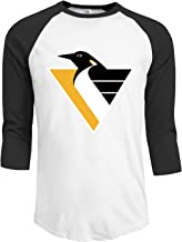 LEEMASTER Men's Penguins Hockey Logo 3/4 Sleeves Tee Shirt Black Cool