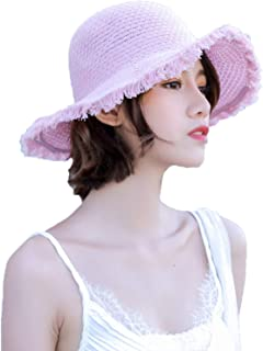 Elonglin Straw Sunhat for Women Foldable Large Brim Summer Beach Outdoor Sun Hat Sweet Style Anti-UV Protection