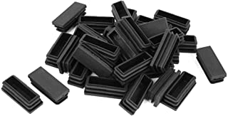 LDEXIN 18pcs 48x19mm Plastic Rectangle Tubing Inserts Threaded End Blanking Cap Plug Furniture Foot Table Chair Leg Pipe Cover Black