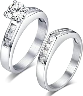 Anniversary Ring Stainless Steel Men Women Engagement Rings 2Pcs Cubic Zirconia Inlaid ZTU1967