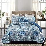 Qucover Boutis Couvre-lit 240x260cm,Dessus de Lit 2 Personnes Coton,Courtepointe Matelassé Bleu avec 2 taies d'oreiller,Jeté de lit pour Plus,Microfibre de Style Moderne,Révisable Patchwork