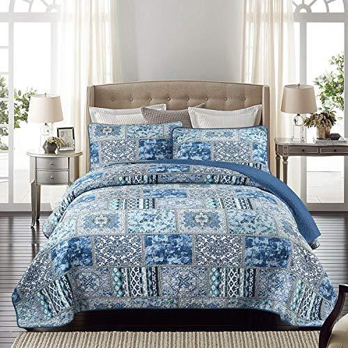 Qucover Tagesdecke Bettüberwurf 240x260cm, Patchworkdecke für Sommer aus Baumwolle & Polyester, Übergröße Gesteppte Decke in Vintage Retro Stil, Blau, mit Kissen Set
