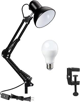 アームライト クランプ式 E26 LED デスクライトブラック 調節可能なな照明角度 目に優しい 省エネ 電気スタンド 卓上 机 LED ライト おしゃれ 読書灯 勉強 仕事