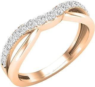 Dazzlingrock Collection 0.25 Carat (ctw) 14K Gold Round Cut Diamond Ladies Anniversary Wedding Guard Contour Band 1/4 CT