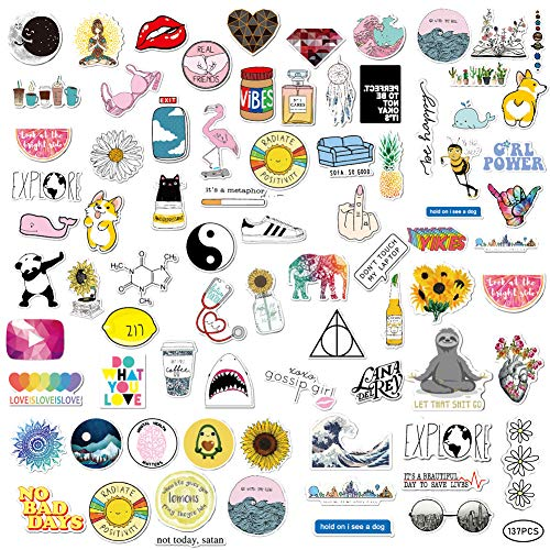 137 PCS Cute Stickers,Waterproof Aesthetic Stickers Vinyl Watter Bottles Trendy Stickers Laptop Skateboard Graffiti Patches Phone Car Bicycle Motorcycle Luggage Bumper Sticker for Teens Adults Girls