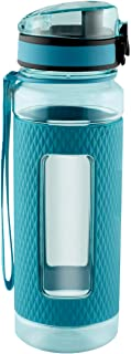SWIG SAVVY Sports Water Bottle with Silicone Sleeve, Wide Mouth with Easy Flip Top Cap, Reusable Drinking Container with Leak Proof Lid, Great for Running, Gym, Swimming - Plastic