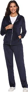 Aibrou Tuta Sportiva Donna Invernale con Cappuccio e Cerniera, Abbigliamento Sportivo Donna 2 Pezzi, Tuta da Ginnastica Do...
