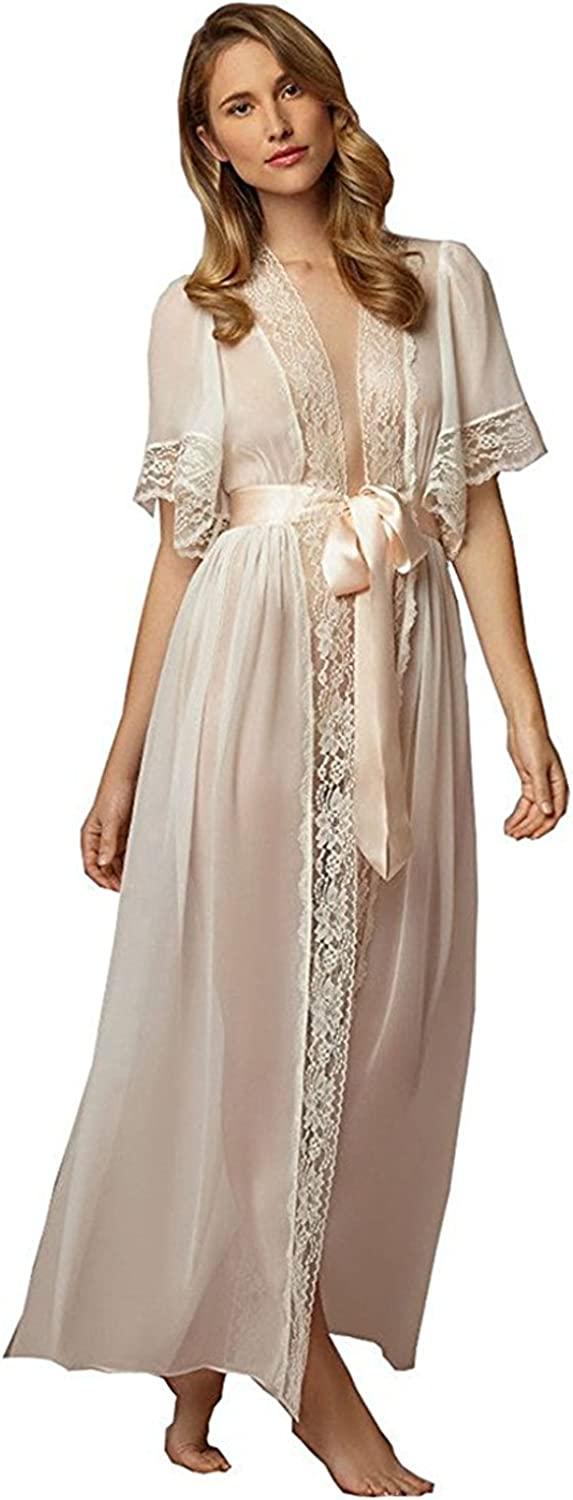 AMG department Women's Robes With Lace Edge Short Sleeves Sexy Long Robe For Wedding Bride