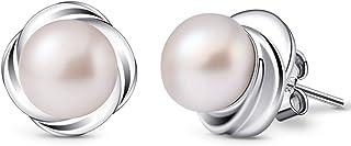 B.Catcher Pearl Earrings Women's 925 Sterling Silver Stud Earrings Flower Speech Freshwater Cultured Pearl Valentine's Day Gift