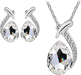 Women's Shiny Crystal Rhinestone Silver Plated Pendent Chain Necklace Stud Earring Costume...