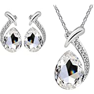 Nobio Women's Shiny Crystal Rhinestone Silver Plated Pendent Chain Necklace Stud Earring Costume...