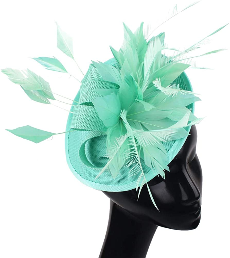 Fancy Feather Flower Wedding Party Hat Female Royal Event Fascinators Hat Hair Clip XMF112