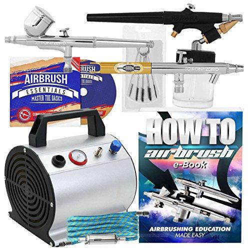 PointZero Multi-Purpose Three Airbrush Set - Low Noise Compressor Kit