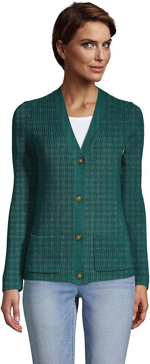 Lands' End Women's Drifter Cotton Shaker Cardigan Sweater