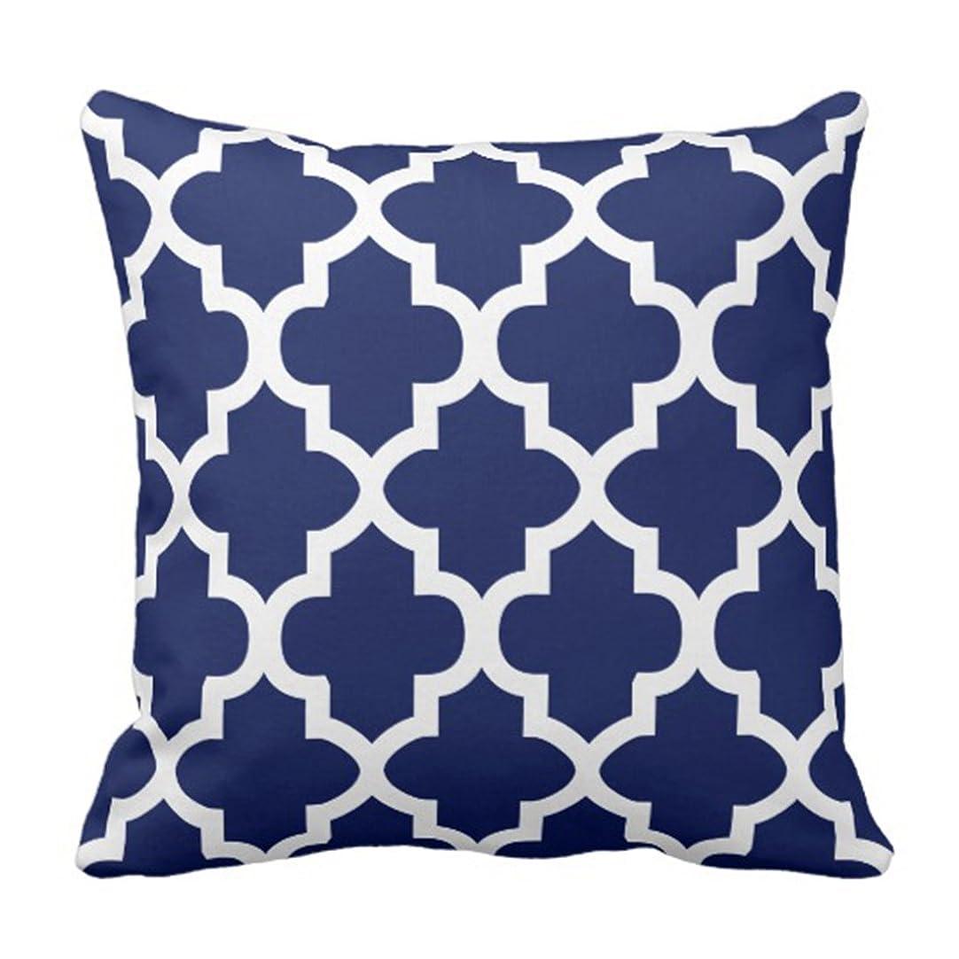 大きさアパート組立投げ枕カバー幾何学的な濃い紺と白のQuatrefoil Trellis装飾枕ケース家の装飾広場18 x 18インチ枕カバー