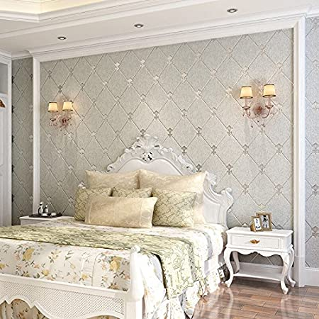 Xiajingjing 3d Continental Diamond Soft Non Woven Wallpaper Modern Living Room Bedroom Tv Background Wall Wall Papers Light Grey Only The Wallpaper Amazon Co Uk Kitchen Home