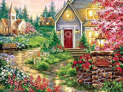 DIY Pintura por Números Jardinera de la casa Dibujar al óleo sobre lienzo preimpreso Lienzo Regalo Adultos Mayores 16x20 Inch(Sin Marco)