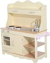 Homcom® Kinderküche Spielküche Spielzeugküche Kinderspielküche Spielzeug mit/ohne Zubehör/Fenster (Modell1/ Natur)