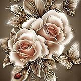 5D Stickerei Gemälde Strass eingefügt DIY Diamant Malerei Kreuzstich 3D Mit Steinen Katze Full Vollbild Diamond Groß Bild Kinder Rose Blumen (25 * 25cm, E)